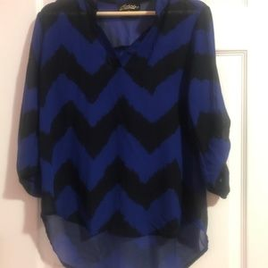 Absolutely Famous Black and Blue Chevron